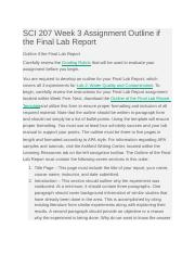SCI 207 Week 3 Assignment Outline if the Final Lab Report.doc