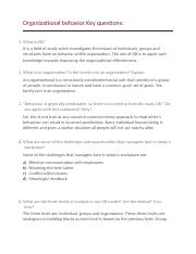 Organizational behavior Key questions.docx