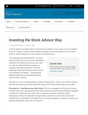 Investing the Stock Advisor Way - Motley Fool Stock Advisor