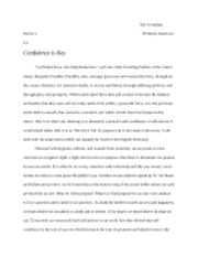 Confidence Essay 1st Draft Mr.Grossman