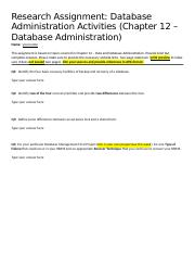 Week 7  - Research Assignment - Data and Database Administration
