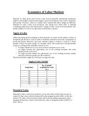 Lecture Note 7 Economics of Labour Markets