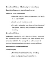Gross Profit Method of Estimating Inventory Notes