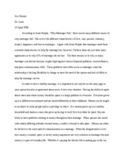 Why marriages fail essay