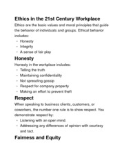 Intro to Marketing-Chapter 10 Ethics in the 21st Century Workplace