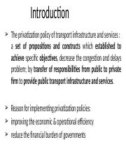 2 PRIVATIZATION POLICY OF THE TRANSPORT INFRASTRUCTURES AND SERVICES