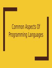 Common Aspects Of Programming Languages Part 1.pptx