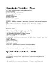 Quantitative Traits Notes