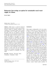 [J] Rainwater harvesting - an option for sustainable rural water supply in Ghana (GeoJournal, Vol 77