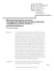 Reinventing human resource management  Business partners internal consultants and the limits to prof