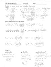 Unit 7 Test Review Key - Name V Date ALGEBRA 1 UNIT 7 — TEST REVIEW