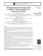 Reading Material02-Postponement strategy from a supply chain perspective cases from China