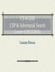 CS 4-5260_Lect6_ CSP + Adversarial Search