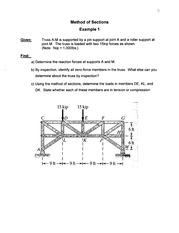 Lecture 13, Truss, Method of Sections