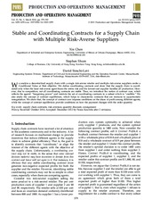 2014 Stable and Coordinating Contracts for a Supply Chain