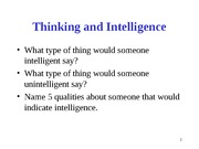 Thinking, Language and Intelligence, Psych 101