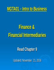 10 - Finance & Finance Intermediaries - Nov  21 2016