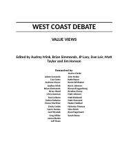 West Coast Debate - Value Views.docx