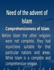 isl. lecture#3 need of Islam