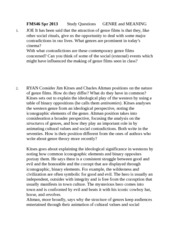 FMS46 Spr 2013        Study Questions      GENRE and MEANING
