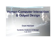 Systems Analysis and Design lecture 23 HCI and output design