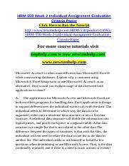 HRM 558 Week 2 Individual Assignment Evaluation Criteria Paper.doc