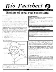 197 Biology of coral reef ecosystems