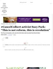 "#CancelColbert activist Suey Park_ ""This is not reform, this is revolution"" - Salon(Print)"
