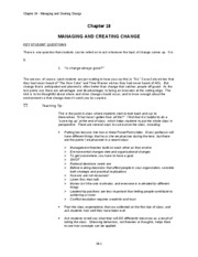 Chapter 18 MANAGING AND CREATING CHANGE