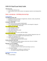 GER 251 Final Exam Study Guide
