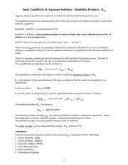 Ionic Equilibria Solubility Product