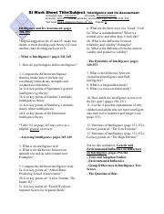 Dominique Mones Intelligence and Its Assessment SI Worksheet 11-21 Canvas