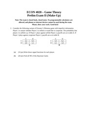 ECON 4020 - Prelim 2 Make-Up (Fall 2013) [Q2 and Q3 only]