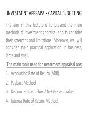 INVESTMENT APPRAISAL- CAPITAL BUDGETING Week 2.pdf