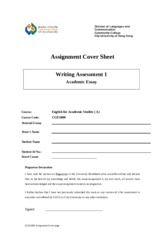 Cover sheet for assignment