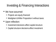 FINA 5311-19 Investing and Financing Interactions