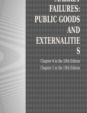 Chapter 4 - Market Failures, Public Goods and Externalities