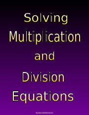 c) Multiply & Divide One Step Equations.ppt