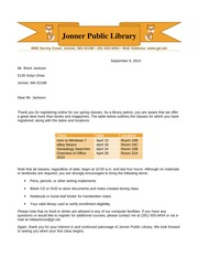 Word Lab 3-2, Library Letter