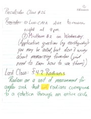 MATH 105 Fall 2013 Radians Examples Lecture Notes