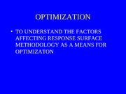 Optimization RSM