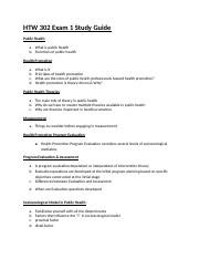 HTW 302 Exam 1 Study Guide