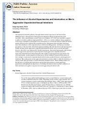 The Influence of Alcohol Expectancies and Intoxication on Men's Aggressive Unprotected Sexual Intent