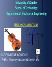 vibration assignment solution