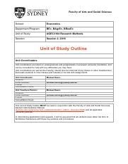 Unit of Study Outline