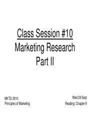 Class 10 Marketing Research II