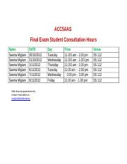 Final Exam Consultation hours