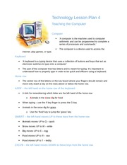 Technology Lesson Plan 4- Teaching the Computer
