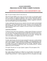 LEAN CONCEPTS - PROCESS FLOW TIME COMPUTATIONS - MPH CASE