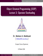 Lecture03 - Operator Overloading
